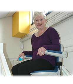 image of woman on stairlift