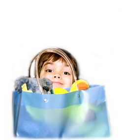 image of child with shopping bag