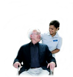 image of man in wheelchair with nurse