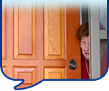 image of lady at door